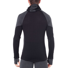 Icebreaker 260 Zone LS Half Zip Hood Men Jet Heather/Black